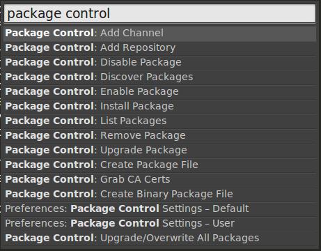 Lista de comandos do Package Control