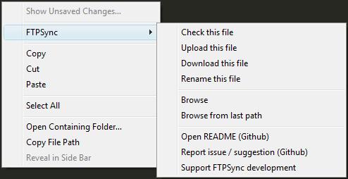 Acessando comandos do FTPSync via menu de contexto